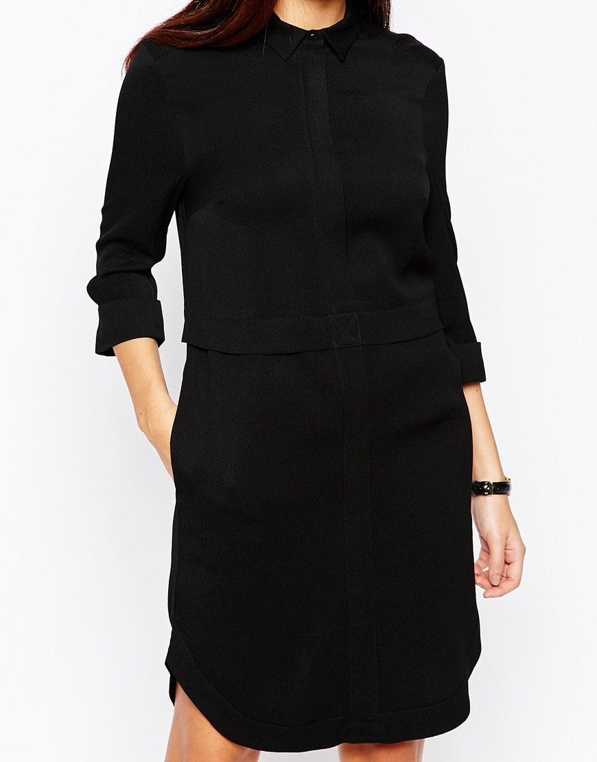 Warehouse concealed zip shirt dress in black lyst for Zip up dress shirt