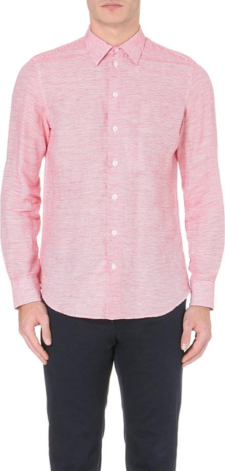 Armani horizontal stripe linen and cotton blend shirt for Horizontal striped dress shirts men