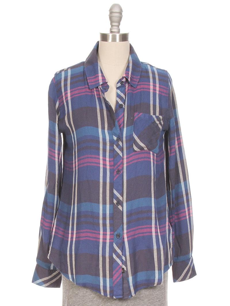 Rails hunter plaid button down shirt in blue navy teal for Navy blue plaid shirt