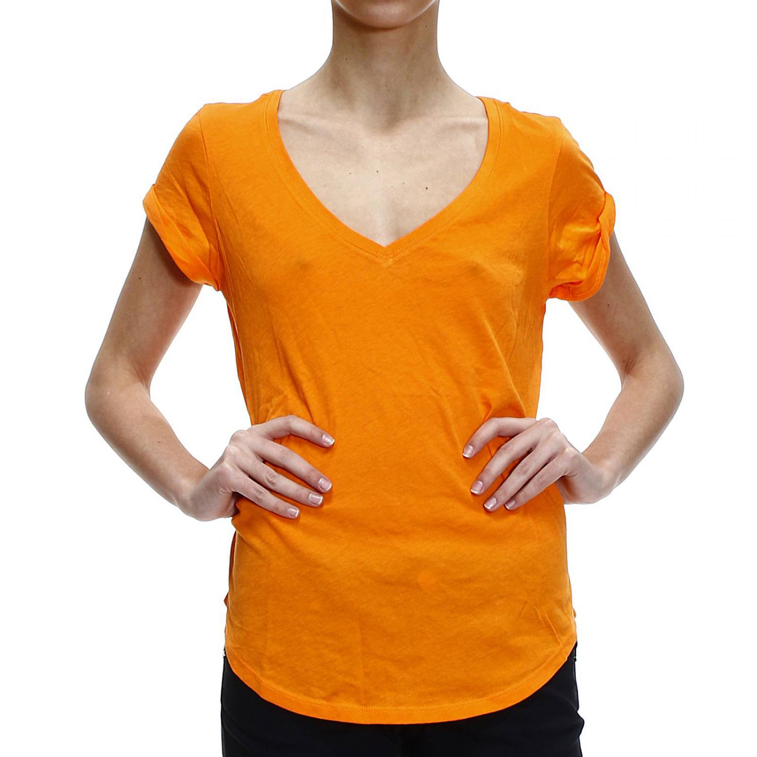 Polo ralph lauren t shirt half sleeve v in orange save for Full sleeve polo t shirts