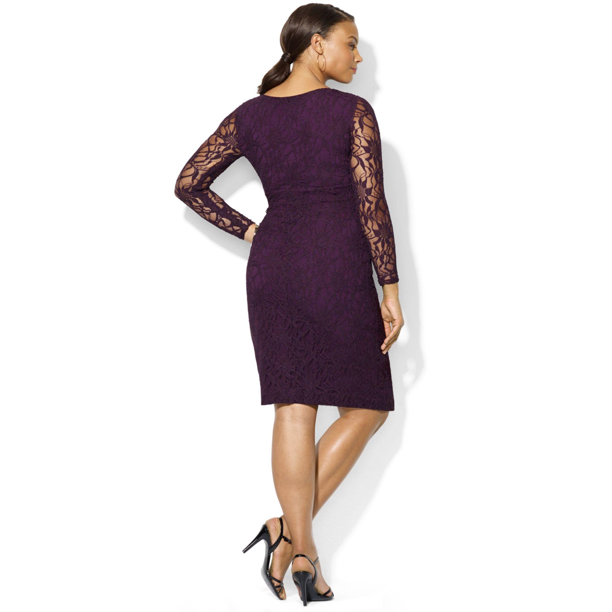 Lyst Lauren By Ralph Lauren Plus Size Long Sleeve Lace Surplice