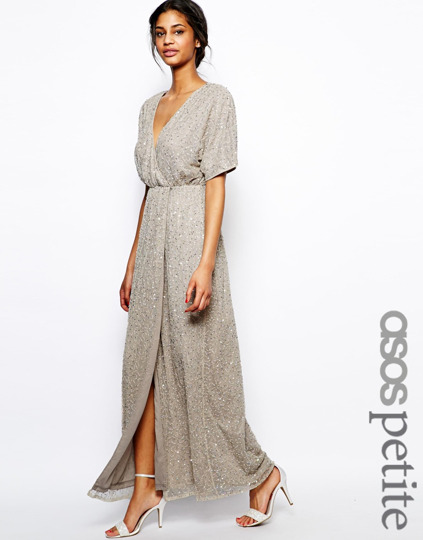 50ef2b612f0 ASOS Sequin Kimono Sleeve Maxi Dress in Black - Lyst