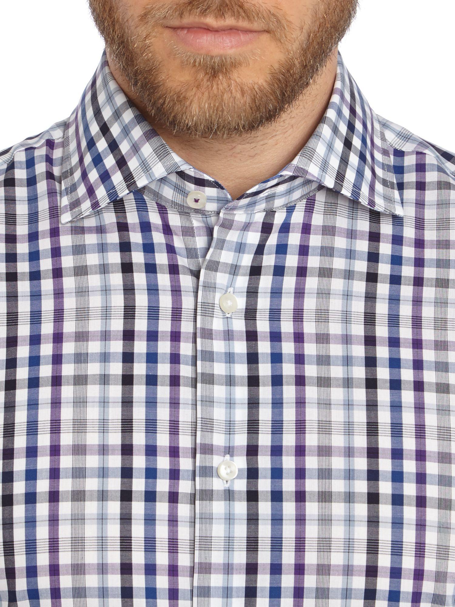 Lyst tommy hilfiger jake slim fit check shirt in blue for Slim fit check shirt