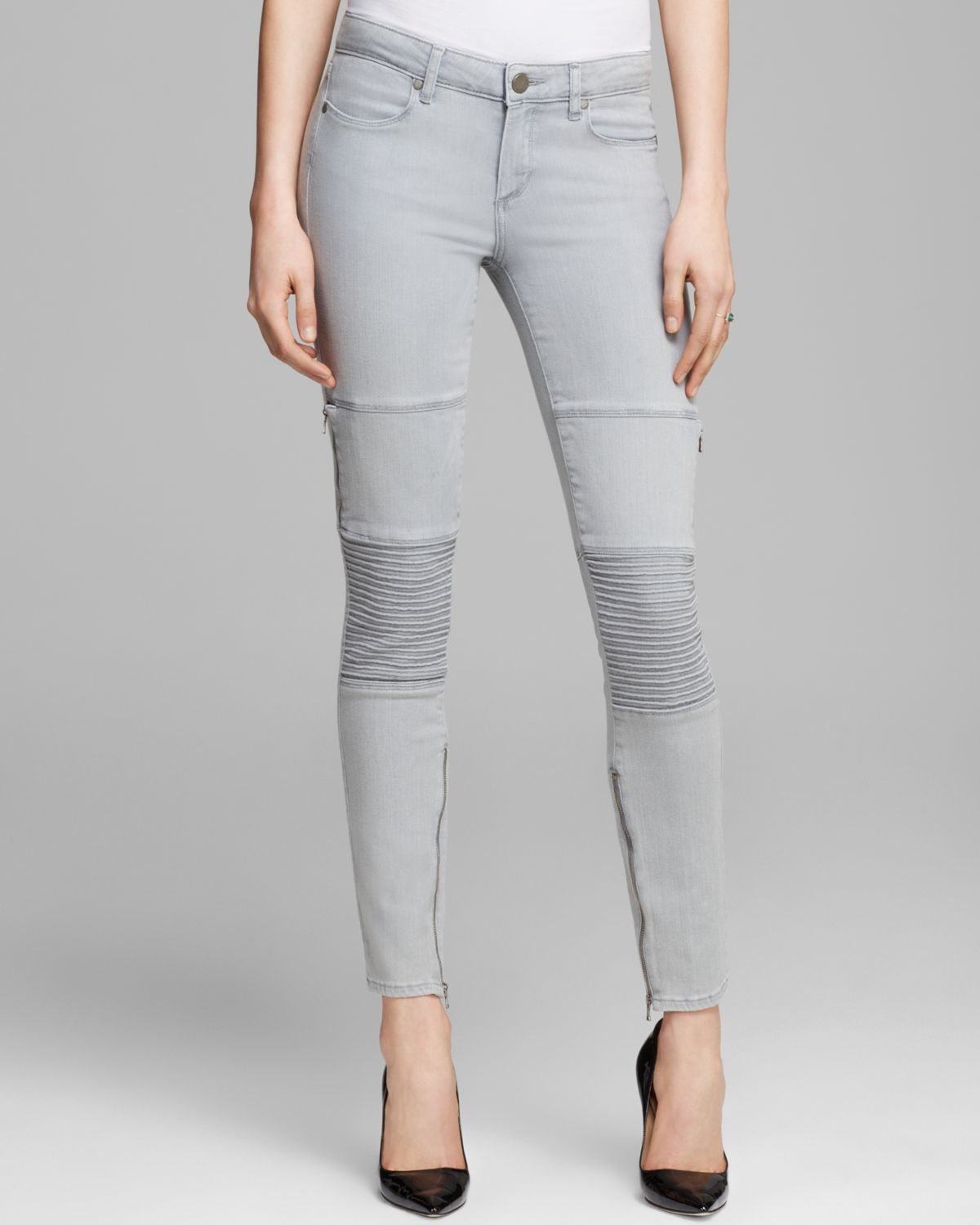 paige jeans demi ultra skinny in montauk grey in gray lyst. Black Bedroom Furniture Sets. Home Design Ideas