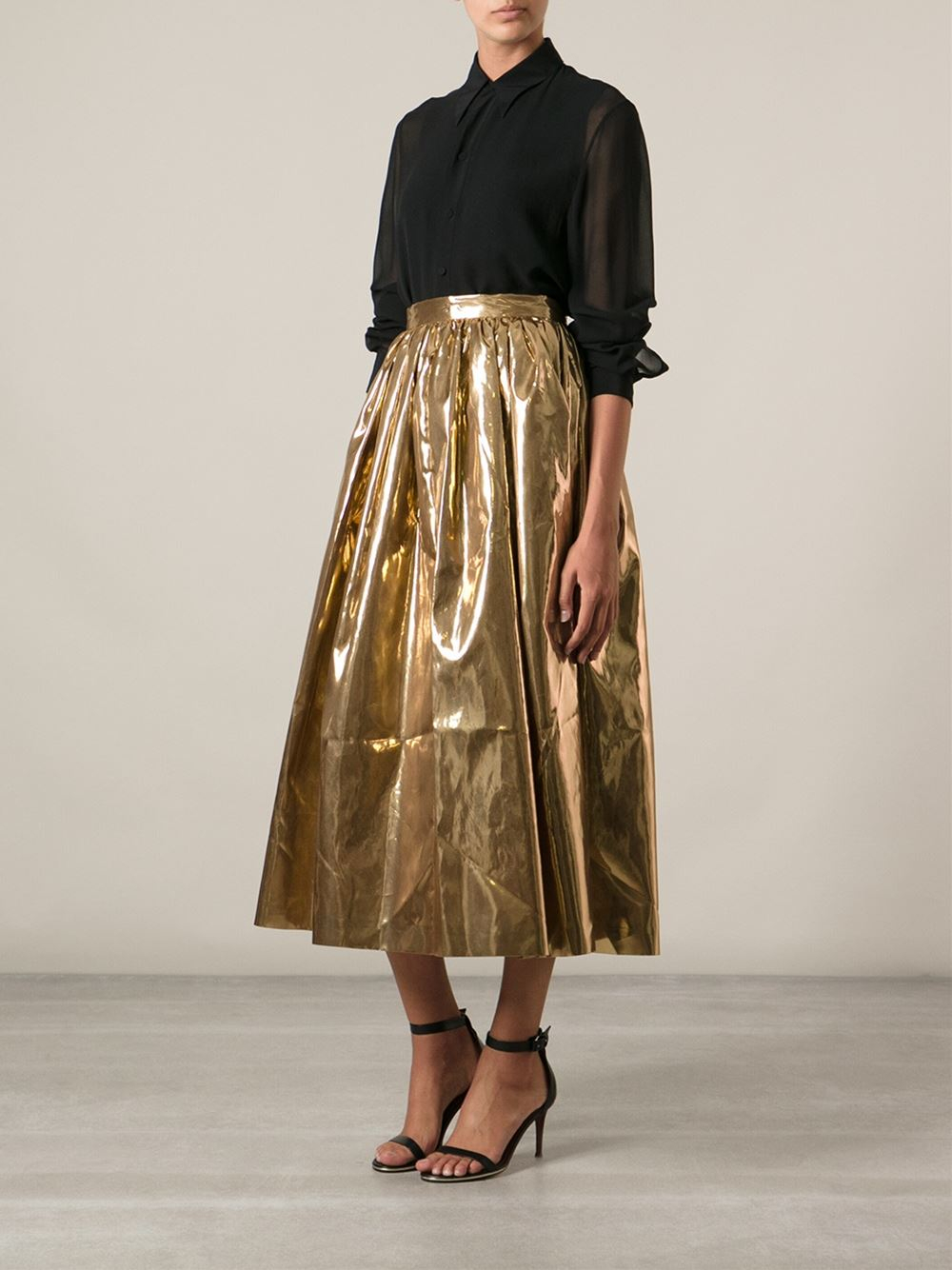 Msgm Long Full Skirt in Metallic | Lyst