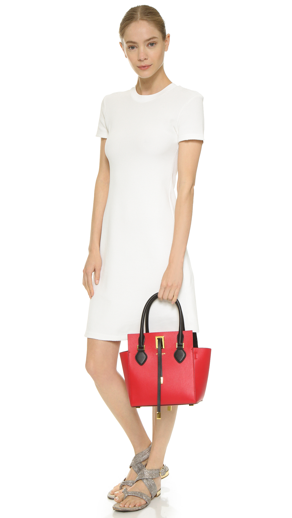 Lyst - Michael Kors Miranda Xs Tote - Crimson Black in Red da04e5302c