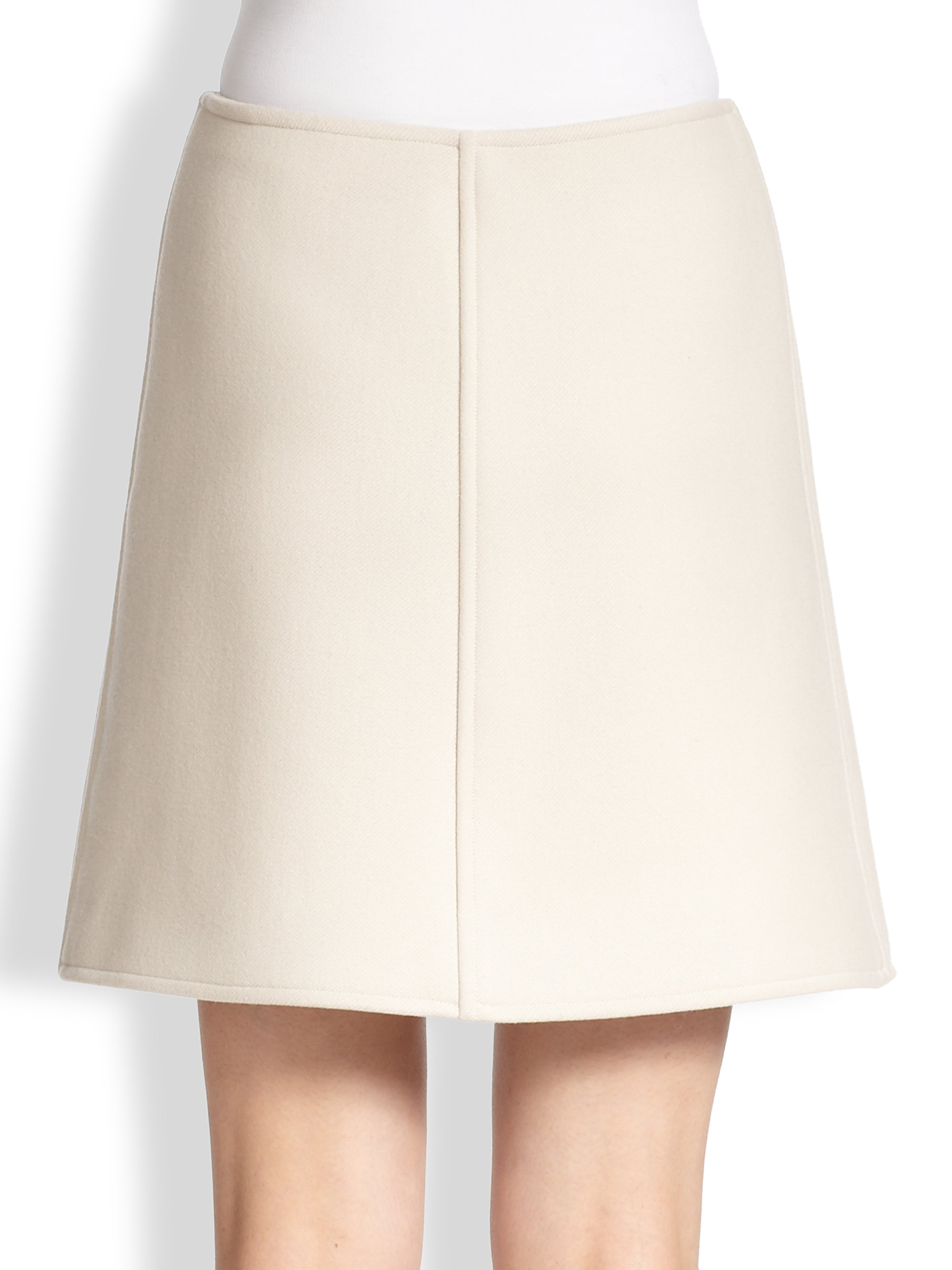 Courreges Wool Zip-Front A-Line Skirt in Natural | Lyst