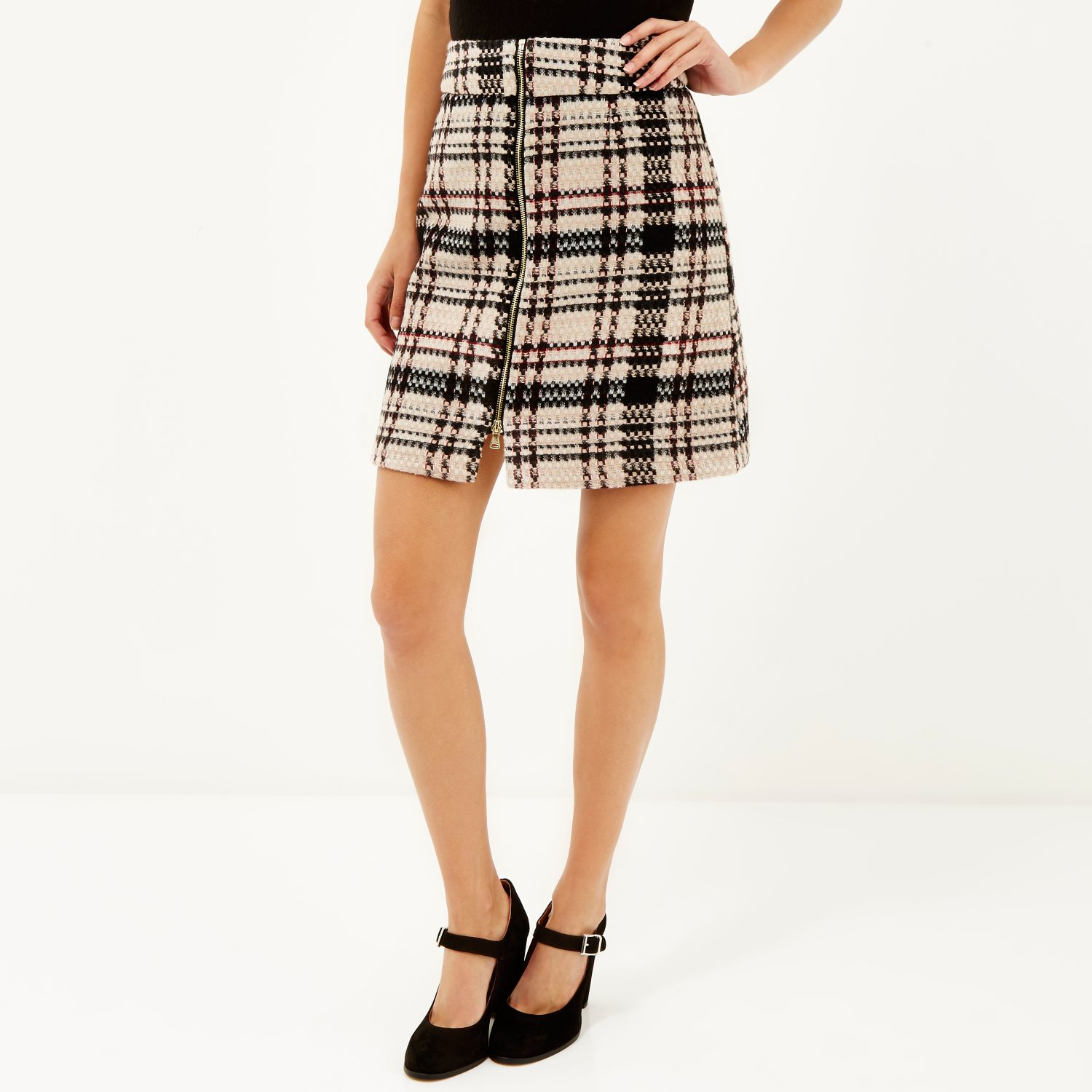 River island Pink Check A-line Mini Skirt in Pink | Lyst