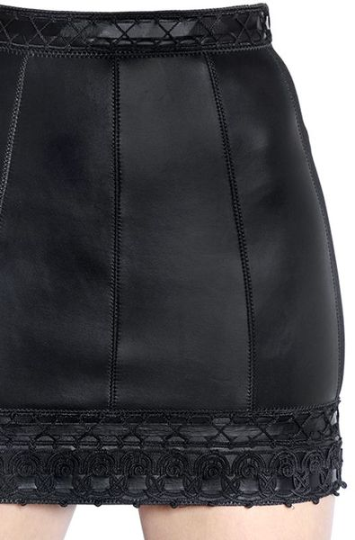 dsquared 178 nappa leather mini skirt with trim in black lyst