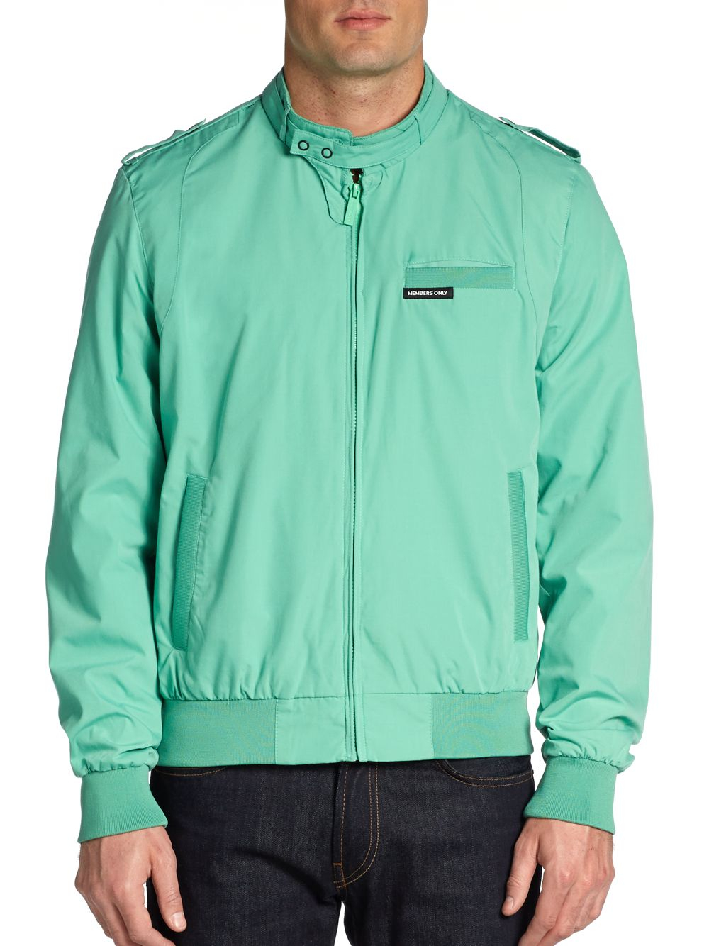 Lyst Members Only Knit Trim Jacket In Green For Men