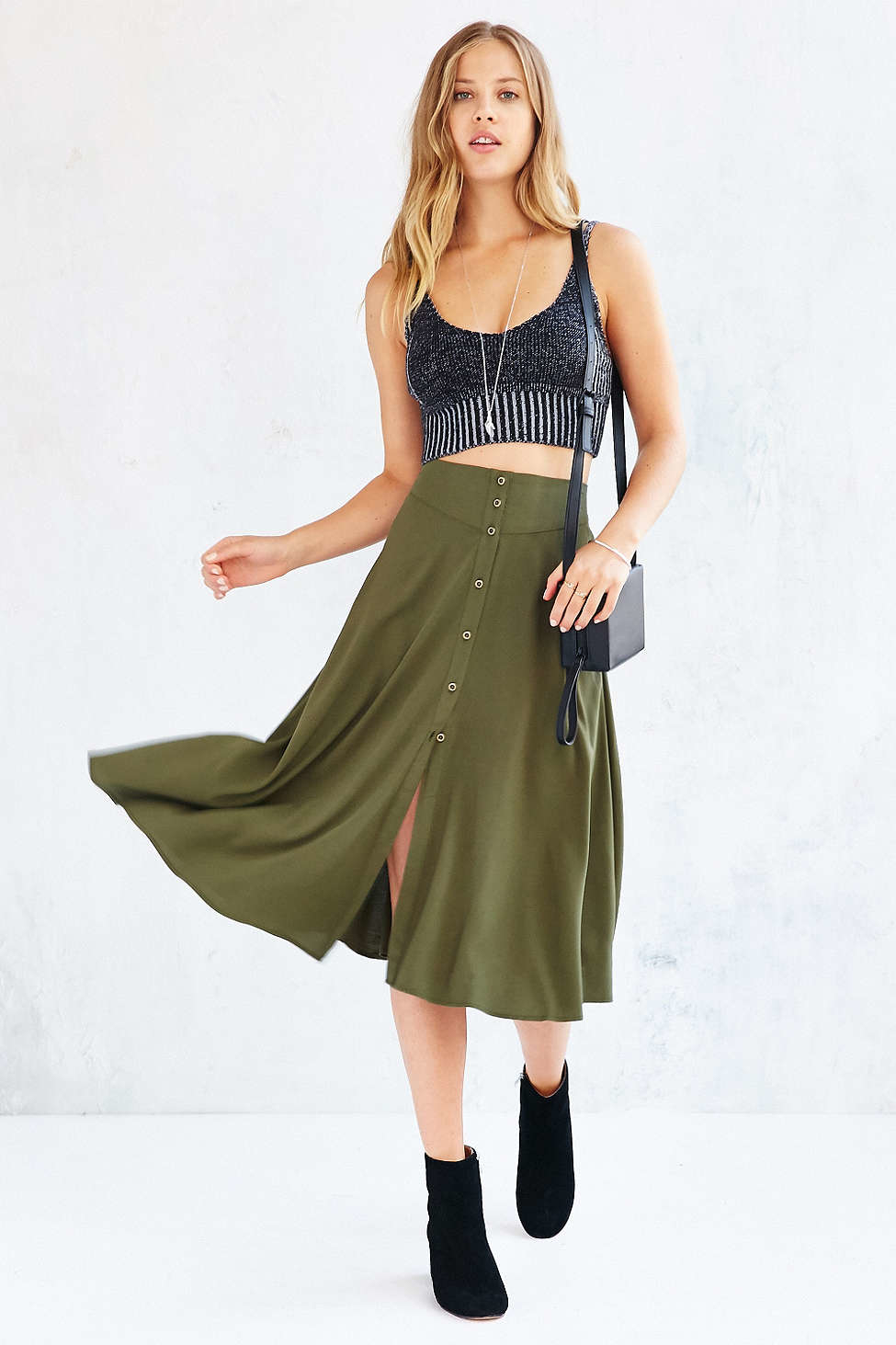 ee090cfc86 Ecote Button-down Midi Skirt in Green - Lyst