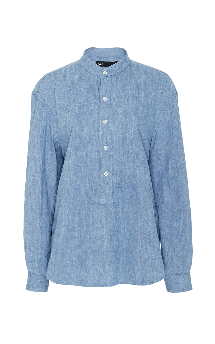 3x1 Cotton Button Up Shirt With Mandarin Collar In Blue Lyst