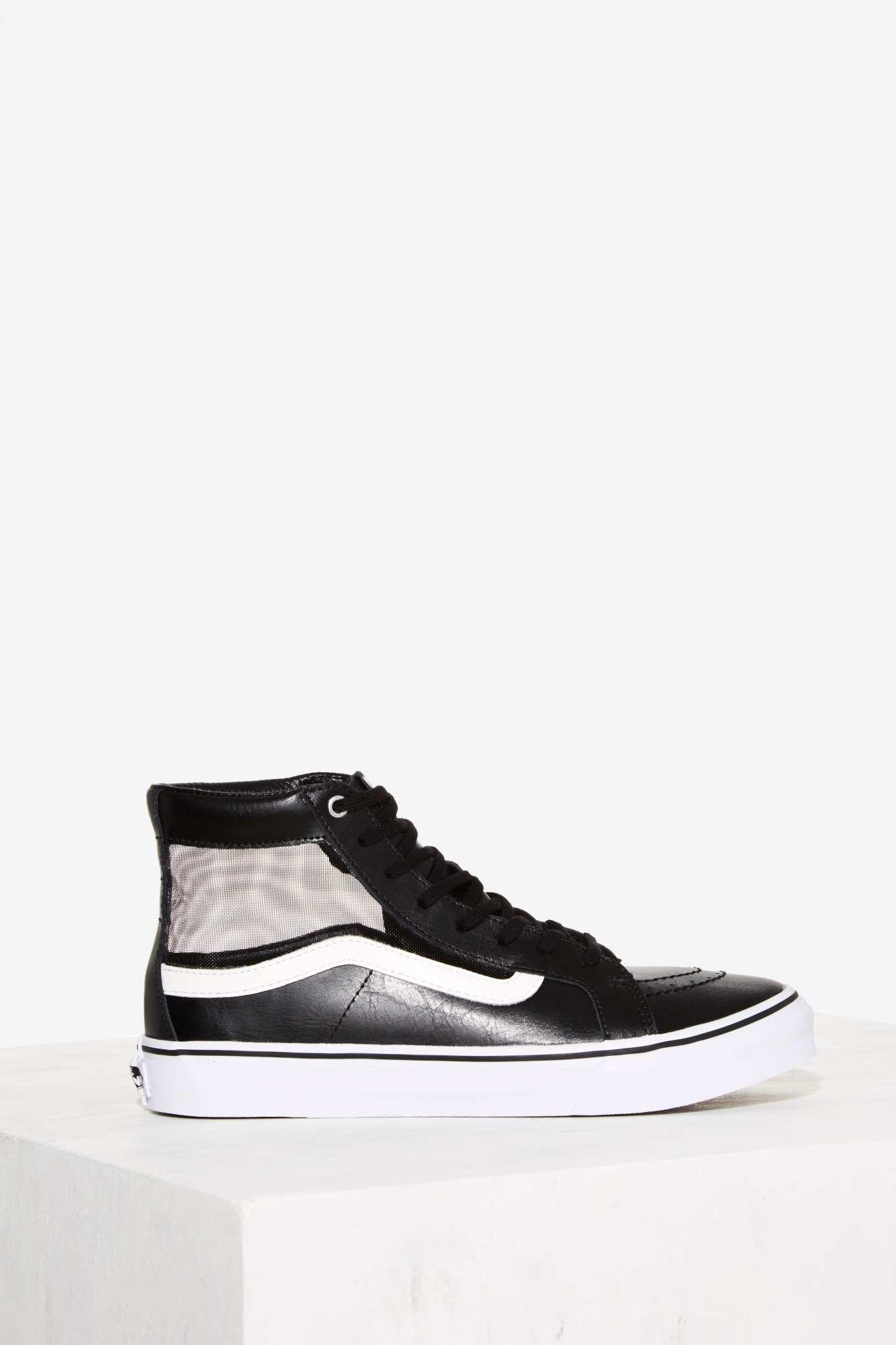 731e256efc Lyst - Nasty Gal Vans Mesh Sk8-hi Slim Cutout Sneaker in Black