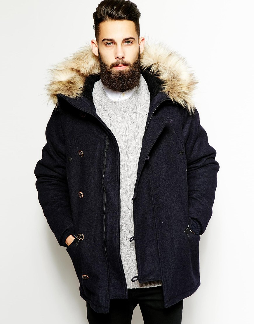 Parka london Wool Parka With Faux Fur Hood in Blue for Men | Lyst
