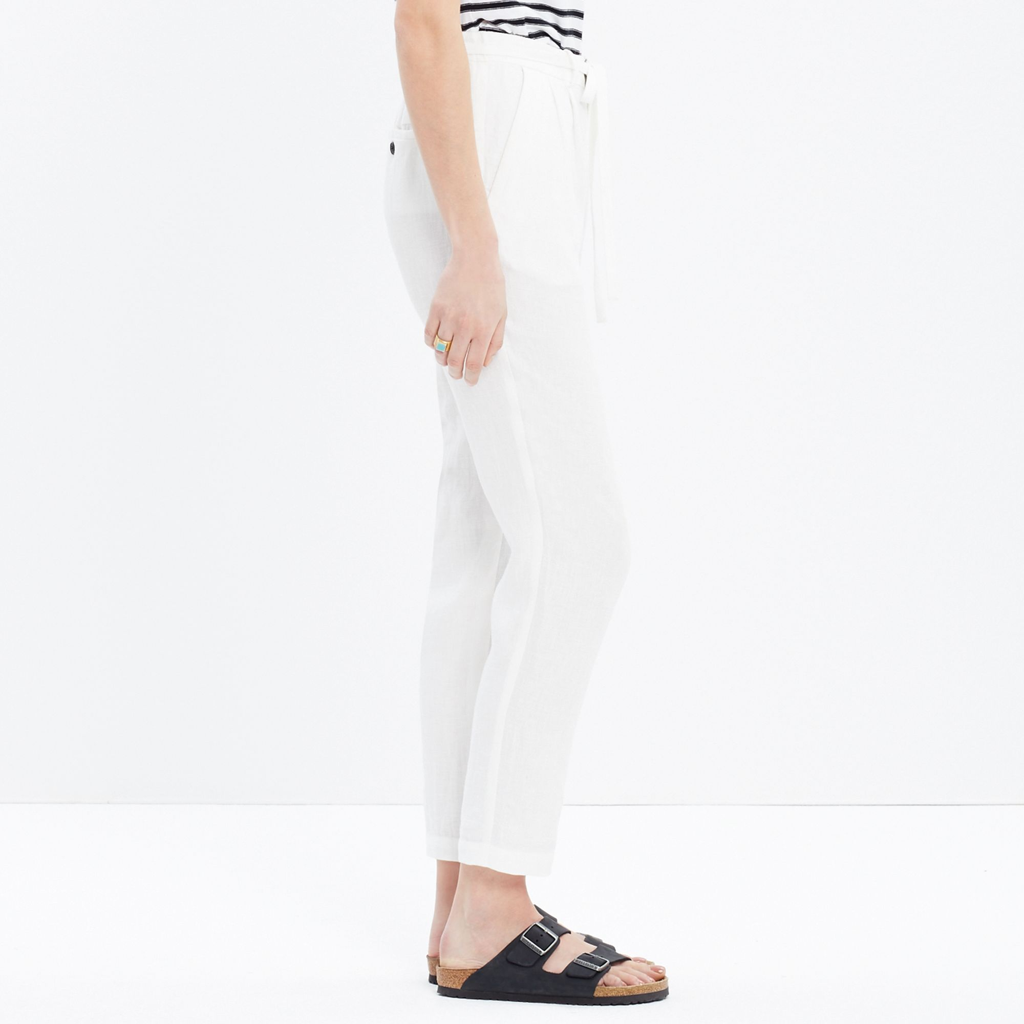 Madewell Linen Delancey Slouch Trousers in White | Lyst