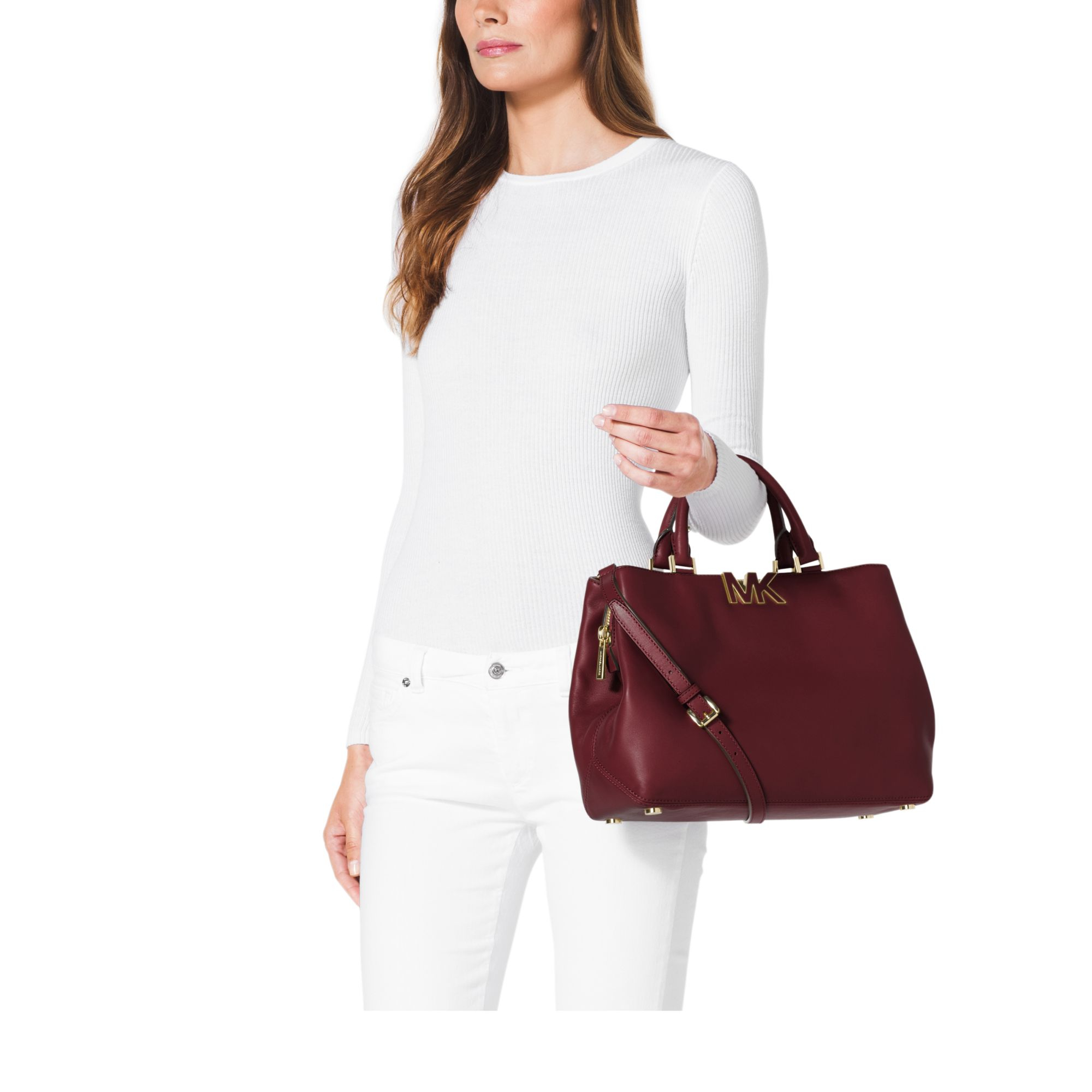 eec0248c13f ... Michael kors Florence Leather Large Satchel in Purple Lyst Michael Kors  Bags ...