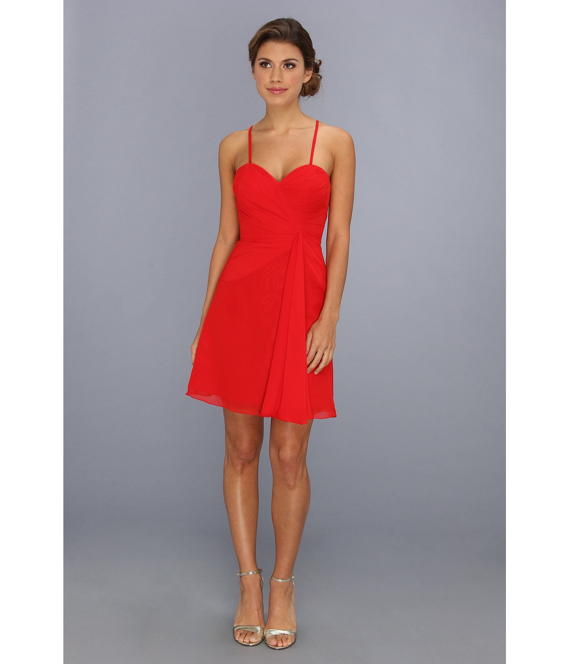 Faviana Short Strapless Sweetheart Dress 7075a in Red - Lyst