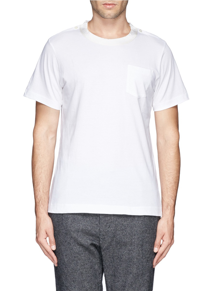 Lyst sacai cotton t shirt in white for men for Cotton white t shirt
