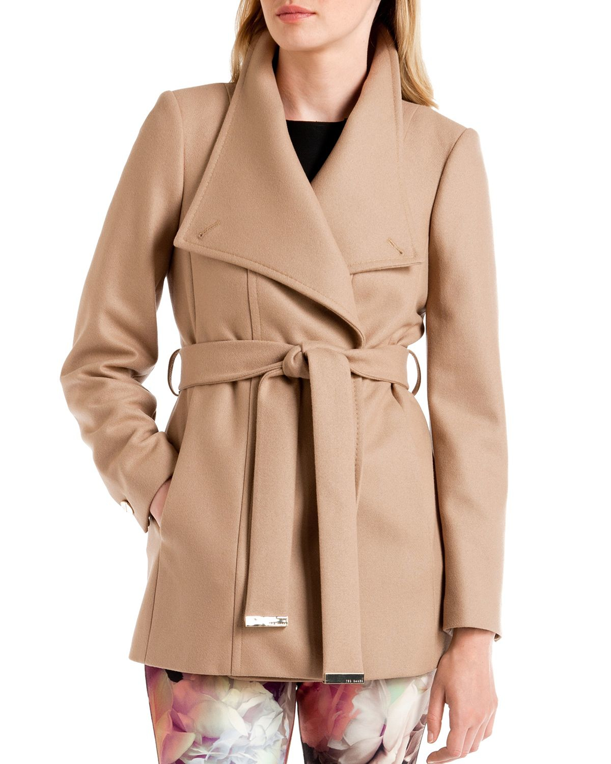 Ted baker Paria Short Wrap Coat in Natural | Lyst