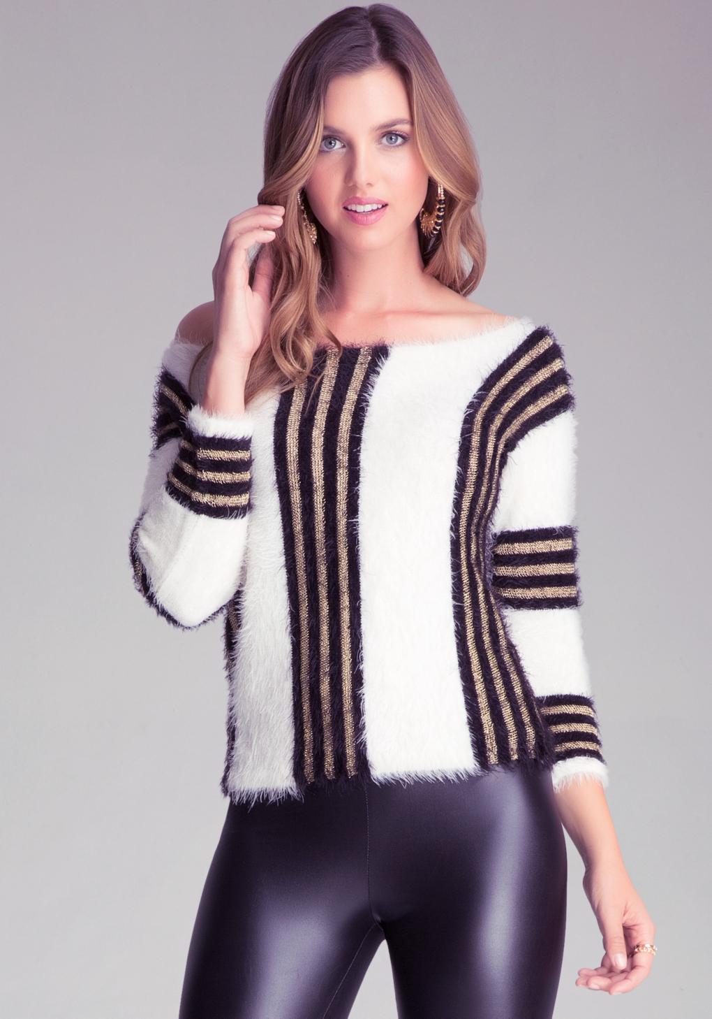 37fa6982947 Lyst - Bebe Striped Boxy Sweater in White