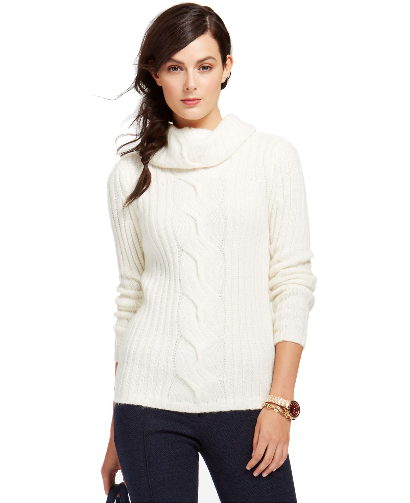 Tommy hilfiger Cable-Knit Cowl-Neck Sweater in White | Lyst