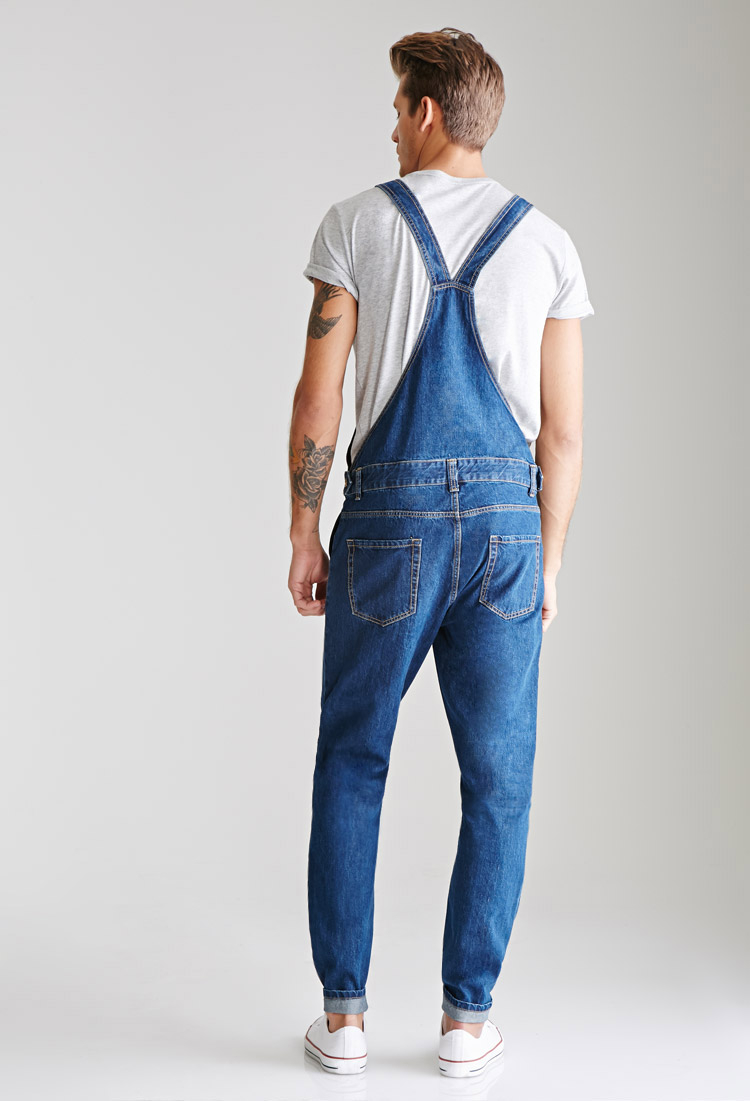 lyst forever 21 classic denim overalls in blue for men