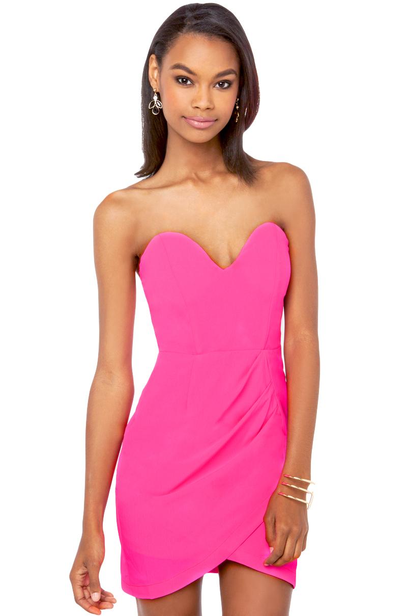1eef8440d82 Lyst - AKIRA Sweetheart Neckline Mini Dress in Pink