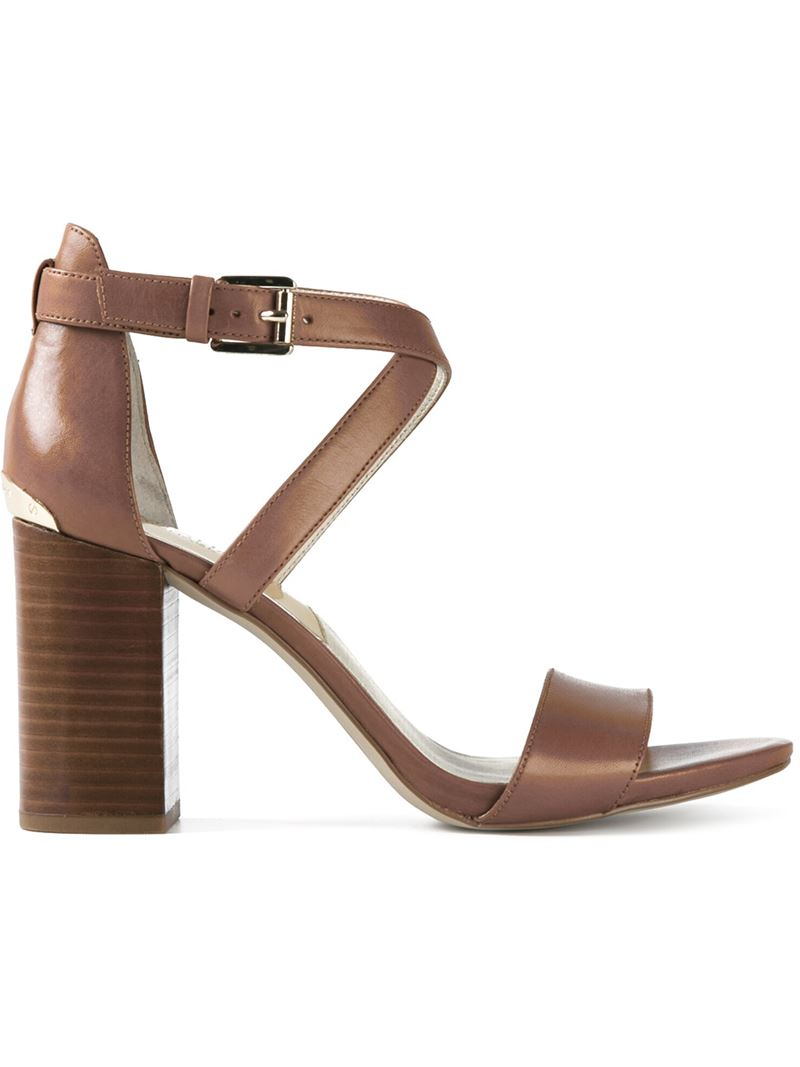 Michael michael kors Chunky Heel Sandals in Brown | Lyst
