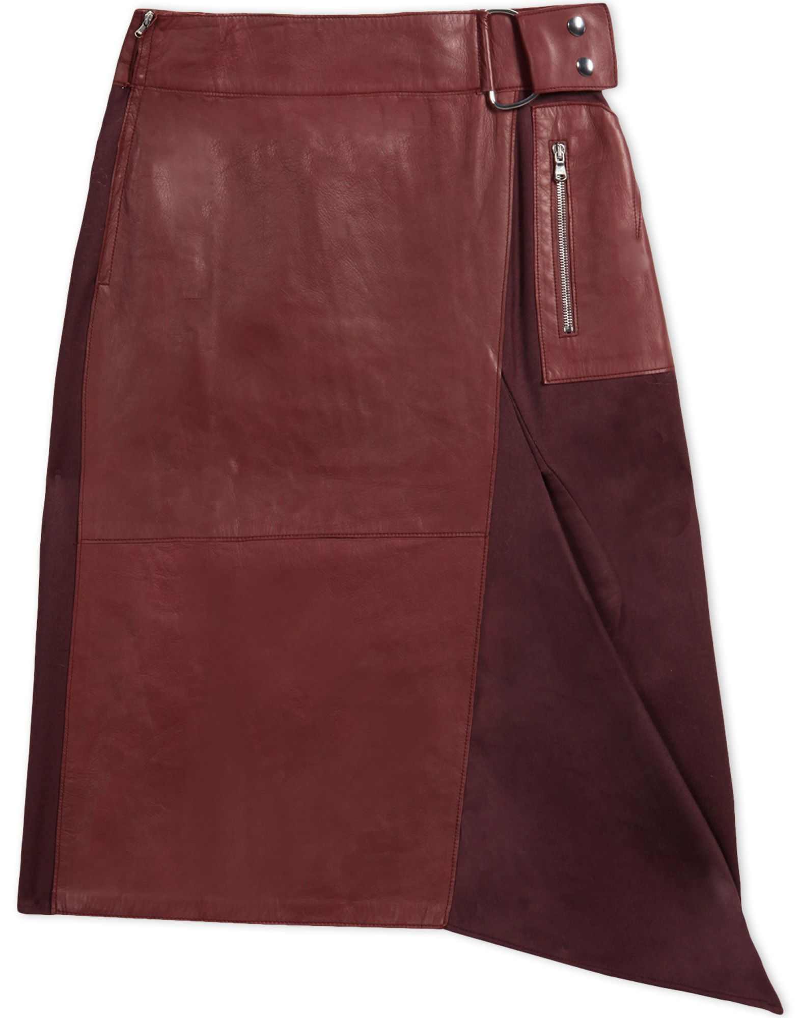 3 1 phillip lim leather skirt in purple maroon lyst