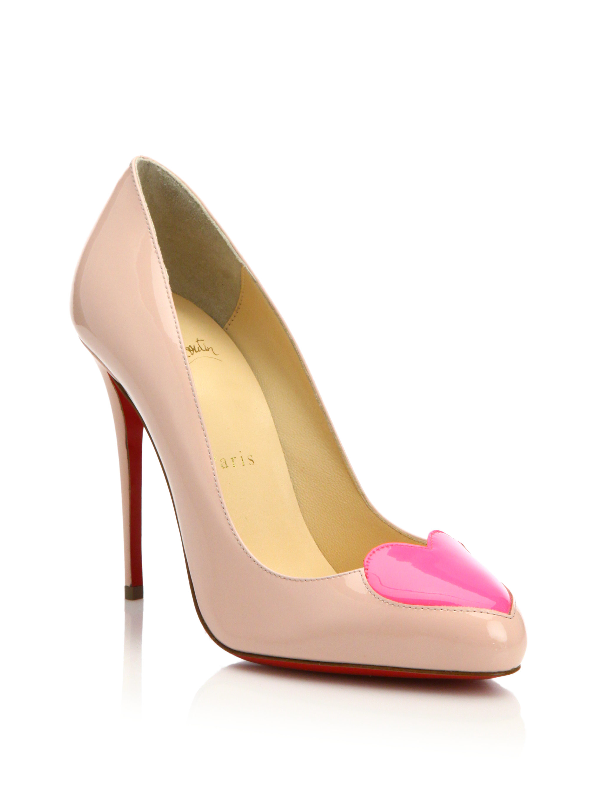 e2d9b0764d7 Lyst - Christian Louboutin Doracora Heart Patent Leather Pumps in Pink