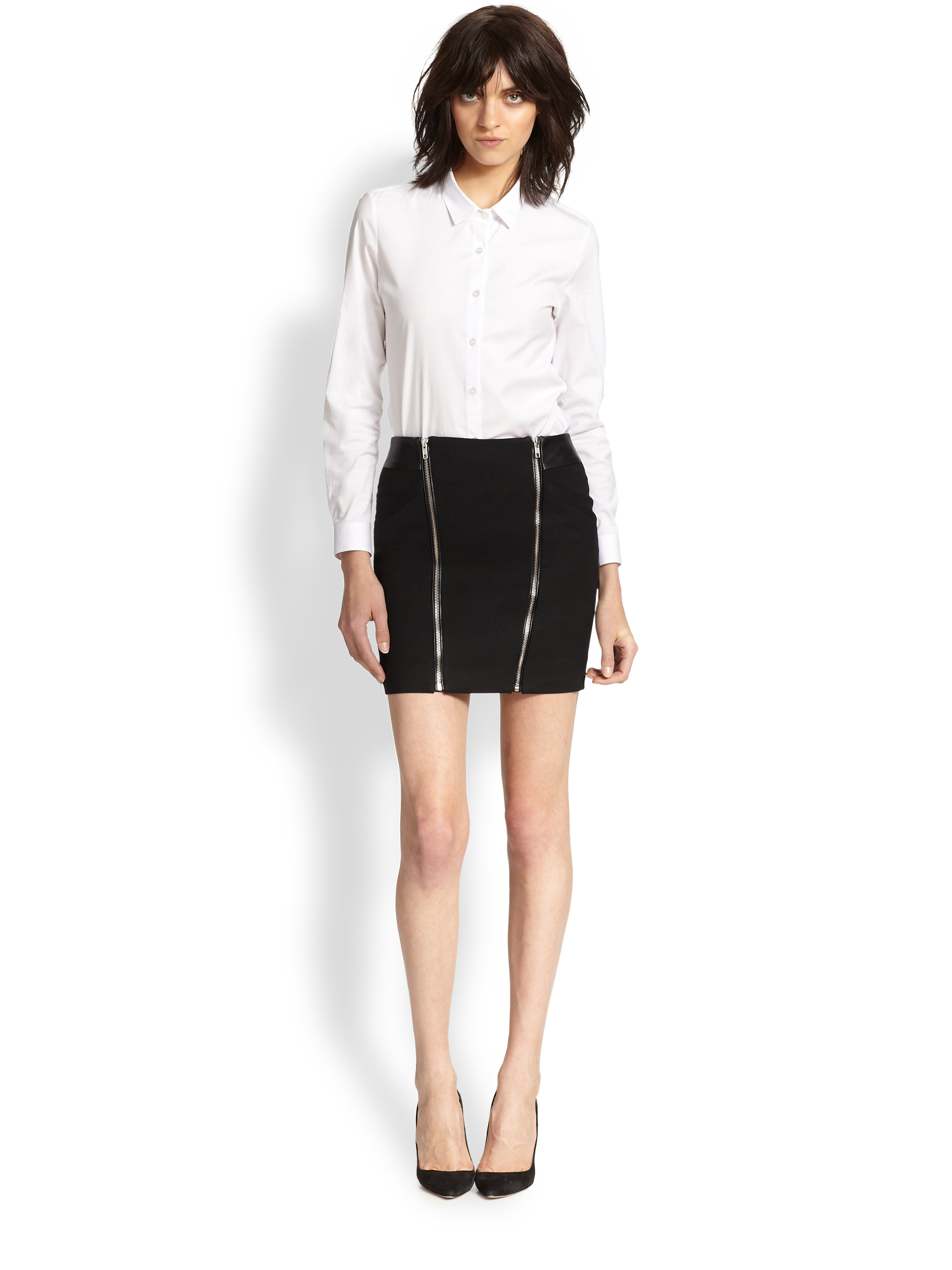 c0ca5d98c5 The Kooples Leather-Trimmed Stretch Wool Mini Skirt in Black - Lyst