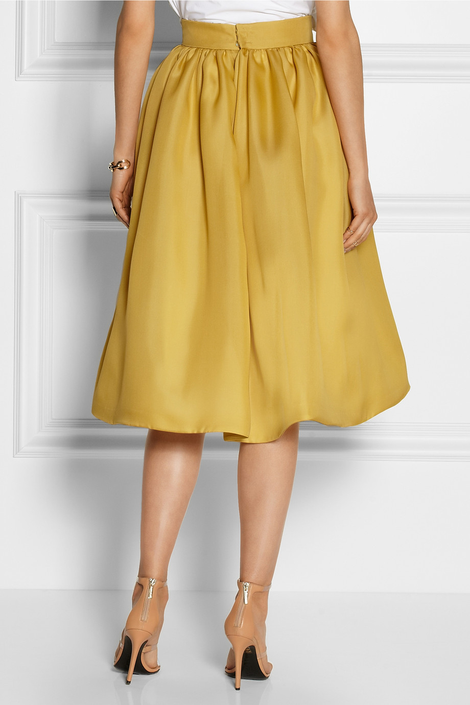 Delpozo Silk-Blend Gazar Midi Skirt in Yellow | Lyst