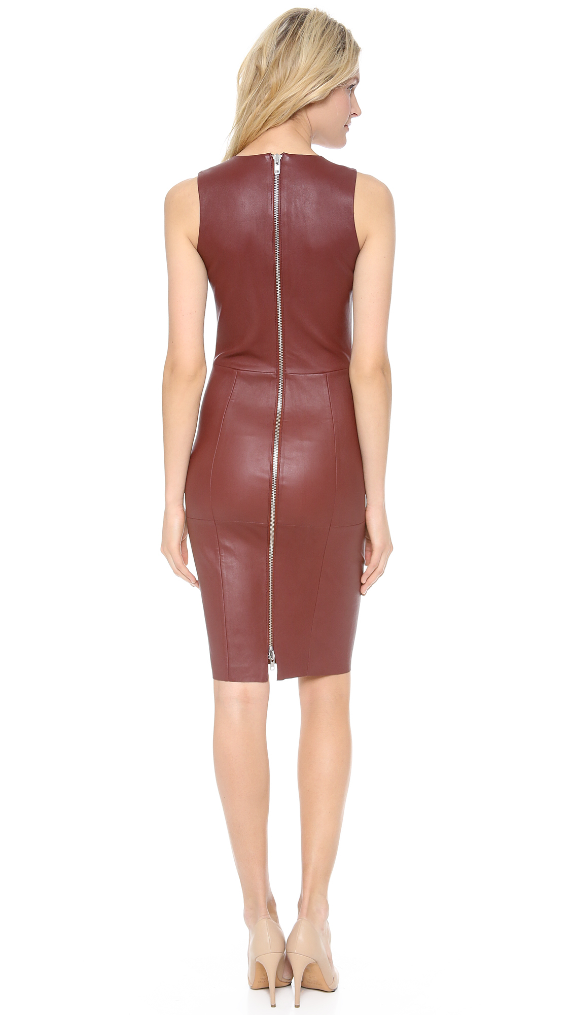 By Malene Birger Iranta Leather Dress Brown Fall In Brown