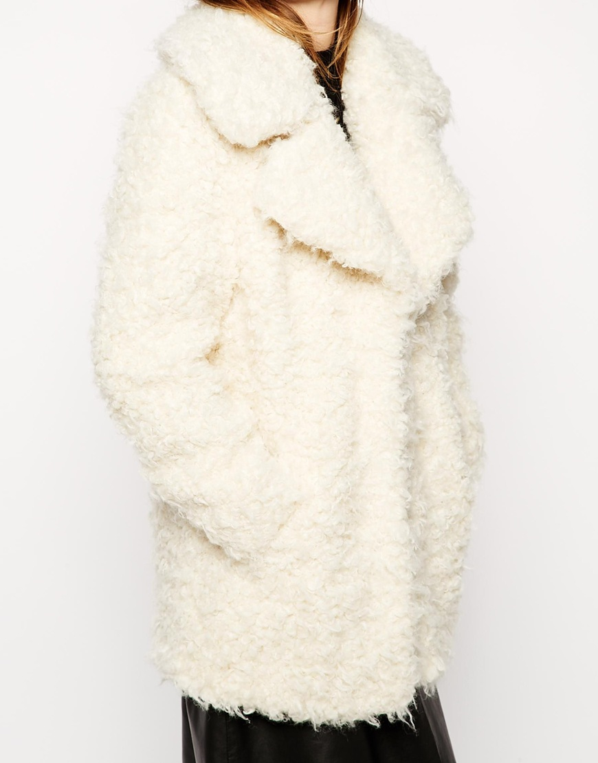 Asos Faux Curly Fur Coat in White | Lyst