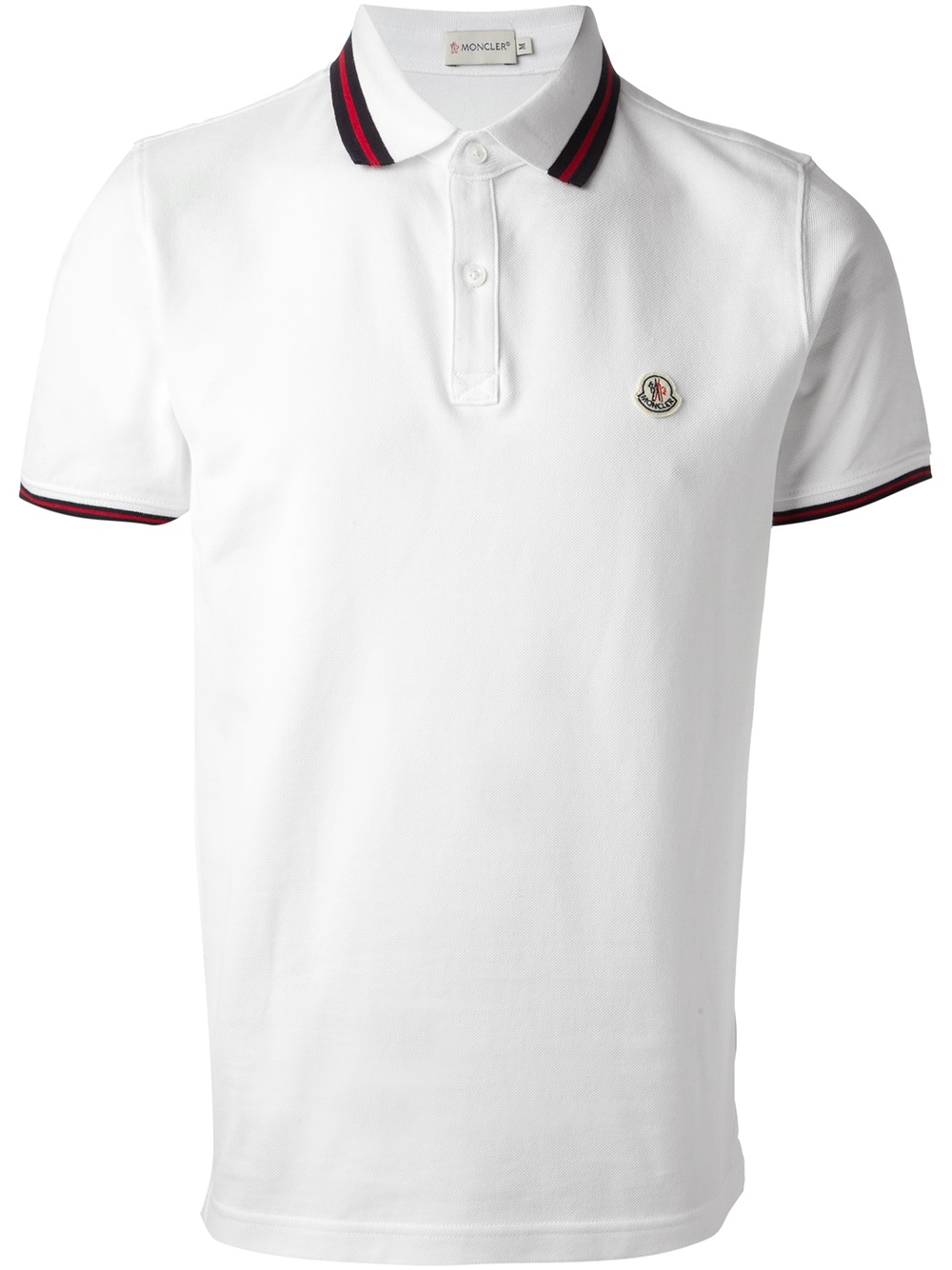 4a5a011a Moncler Striped Trim Polo Shirt in White for Men - Lyst