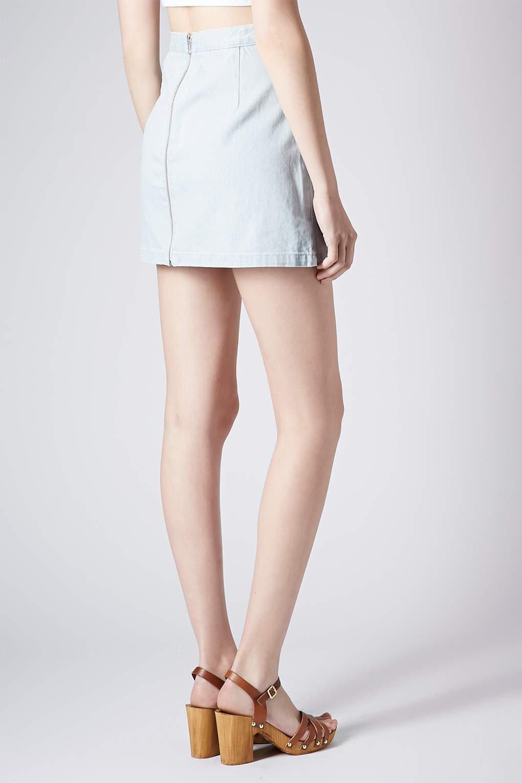 topshop moto denim zip back mini skirt in blue lyst