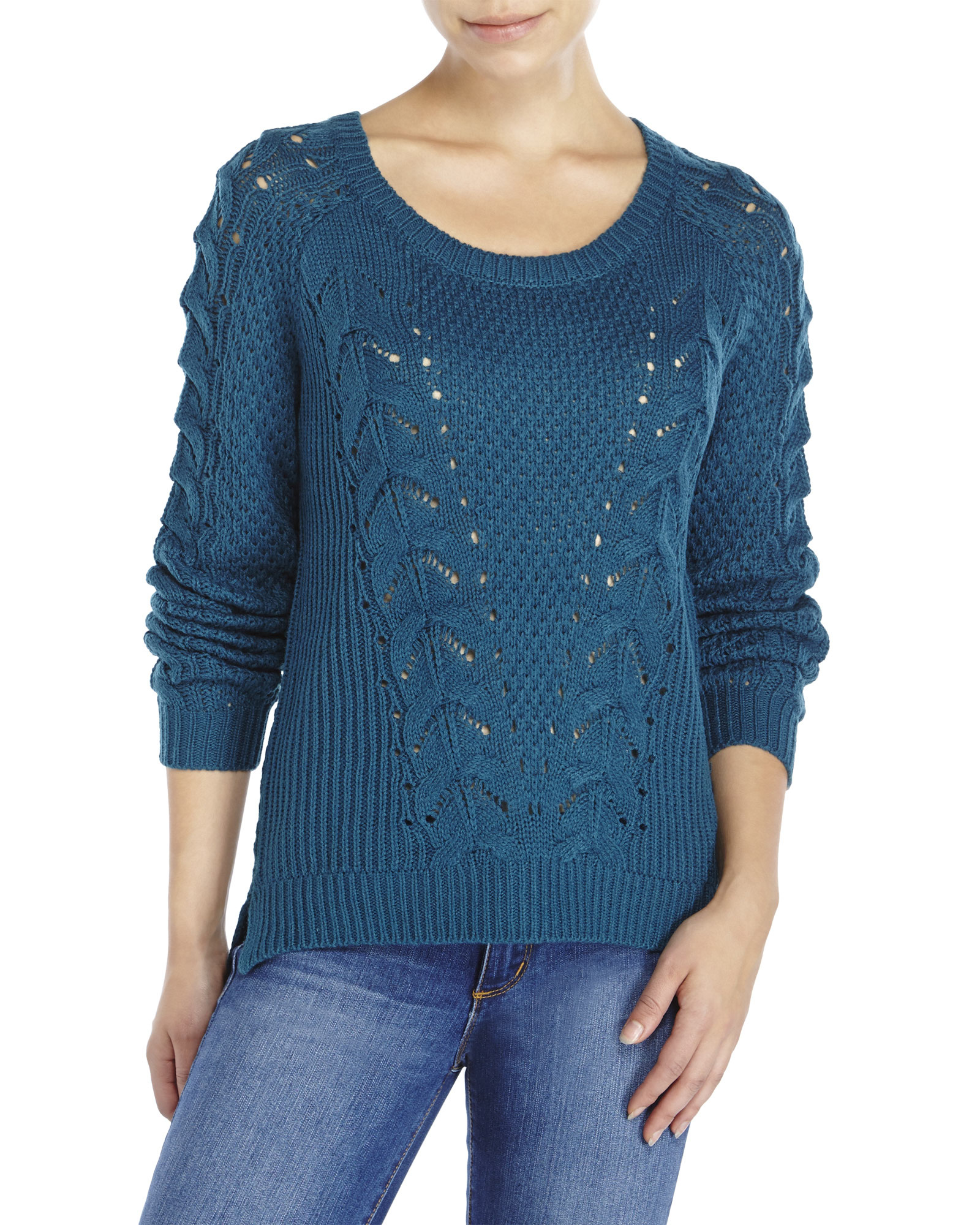 Pink rose Cable Knit Sweater in Blue | Lyst