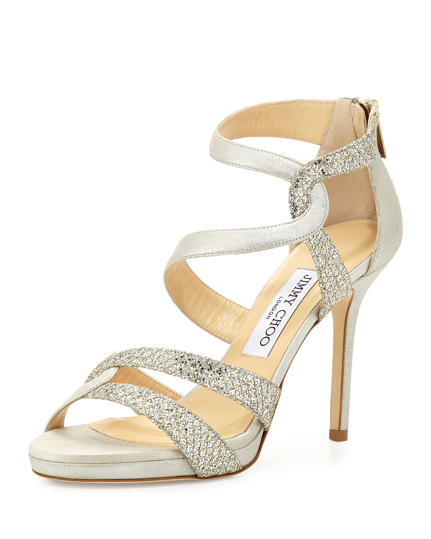 52c5834b41804f Lyst - Jimmy Choo Tomar Strappy Glitter Sandal in Metallic