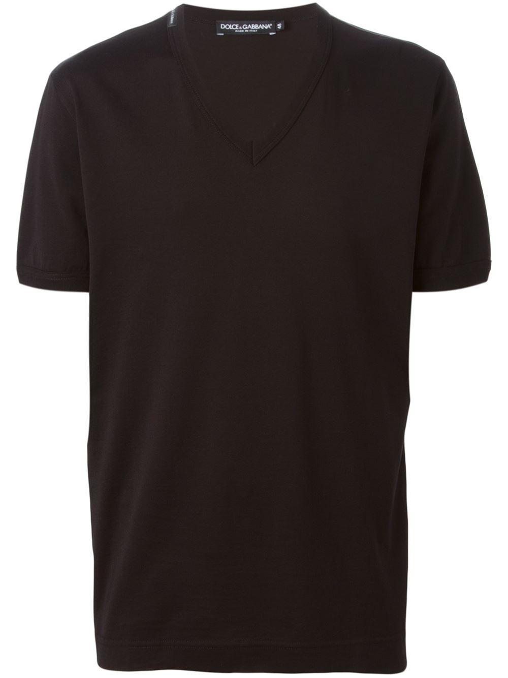 dolce gabbana classic v neck t shirt in black for men lyst. Black Bedroom Furniture Sets. Home Design Ideas