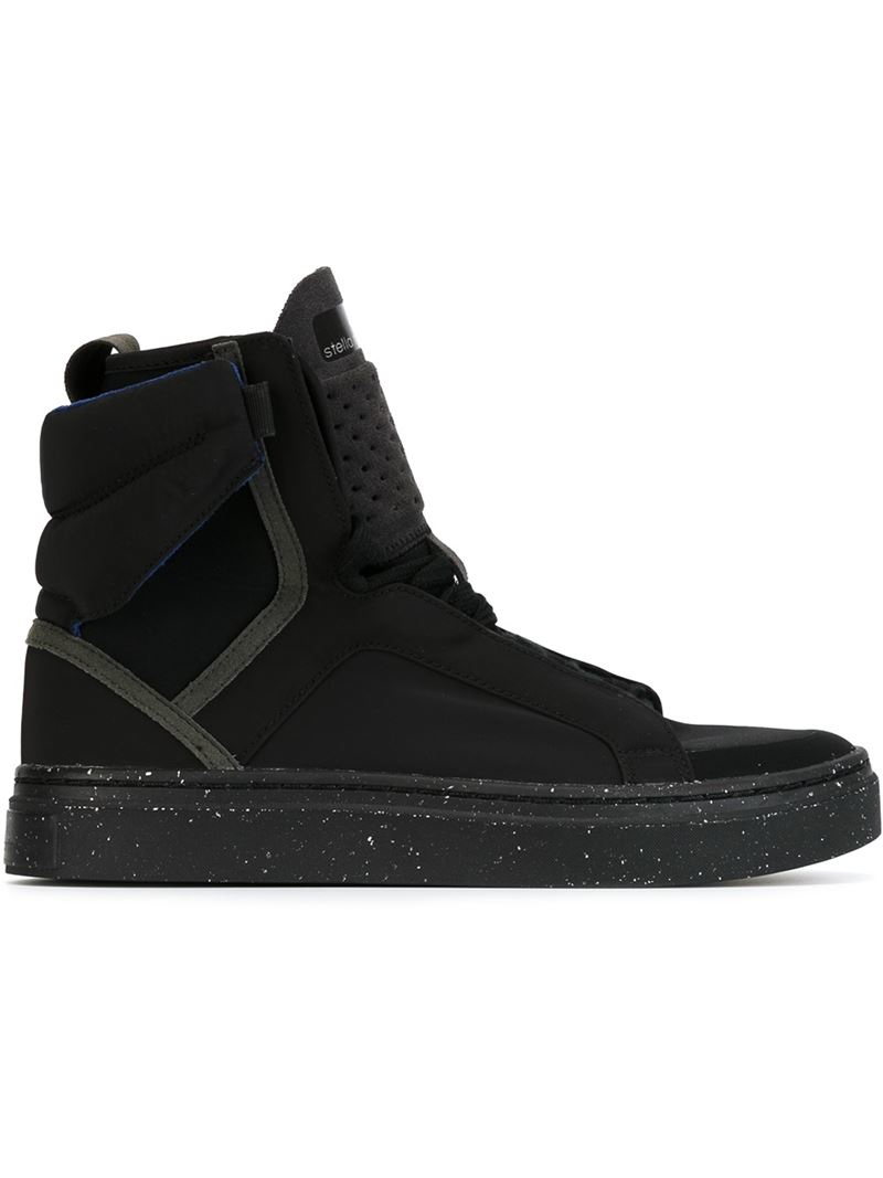adidas by stella mccartney 39 asimina 39 hi top sneakers in black lyst. Black Bedroom Furniture Sets. Home Design Ideas