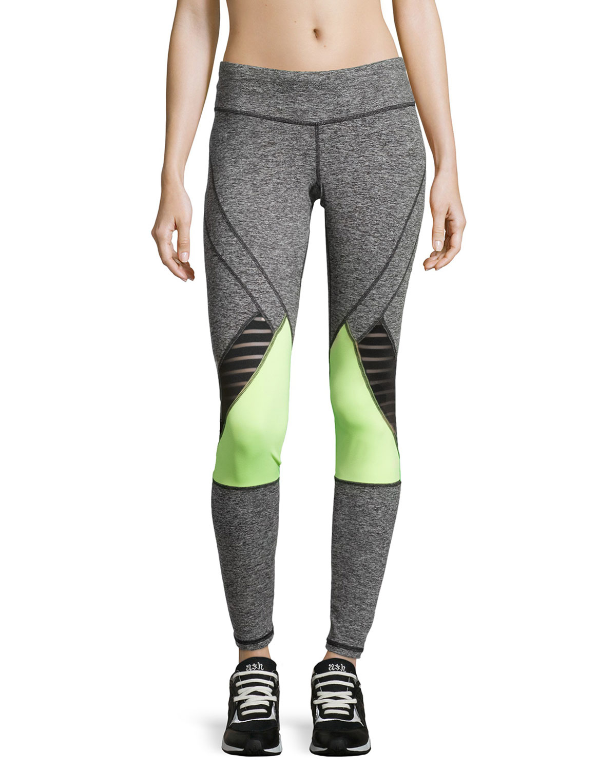 Pink lotus Mesh-trim Colorblock Yoga Pants in Gray | Lyst