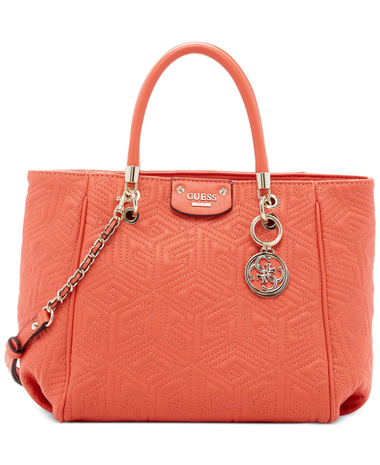7cf270ec0482 Lyst - Guess G Cube Abbey Quilted Convertible Shopper in Pink