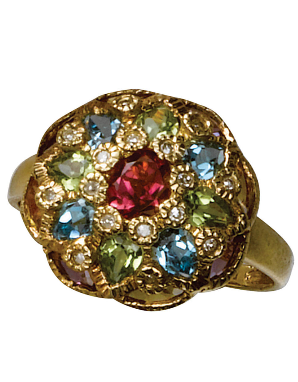 effy 14 kt yellow gold multi colored gemstone ring lyst