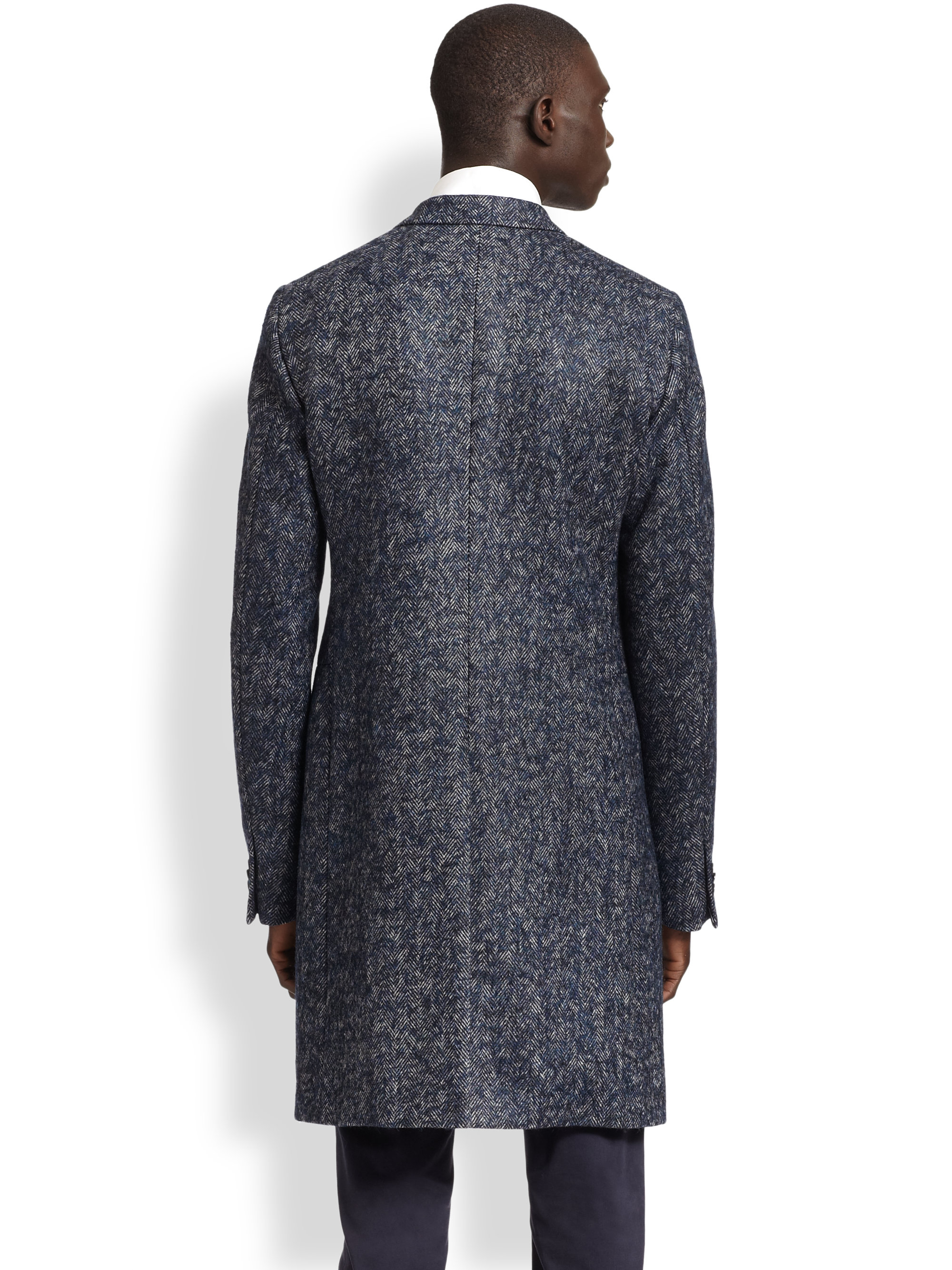 Jil sander Wool Herringbone Coat in Blue for Men | Lyst