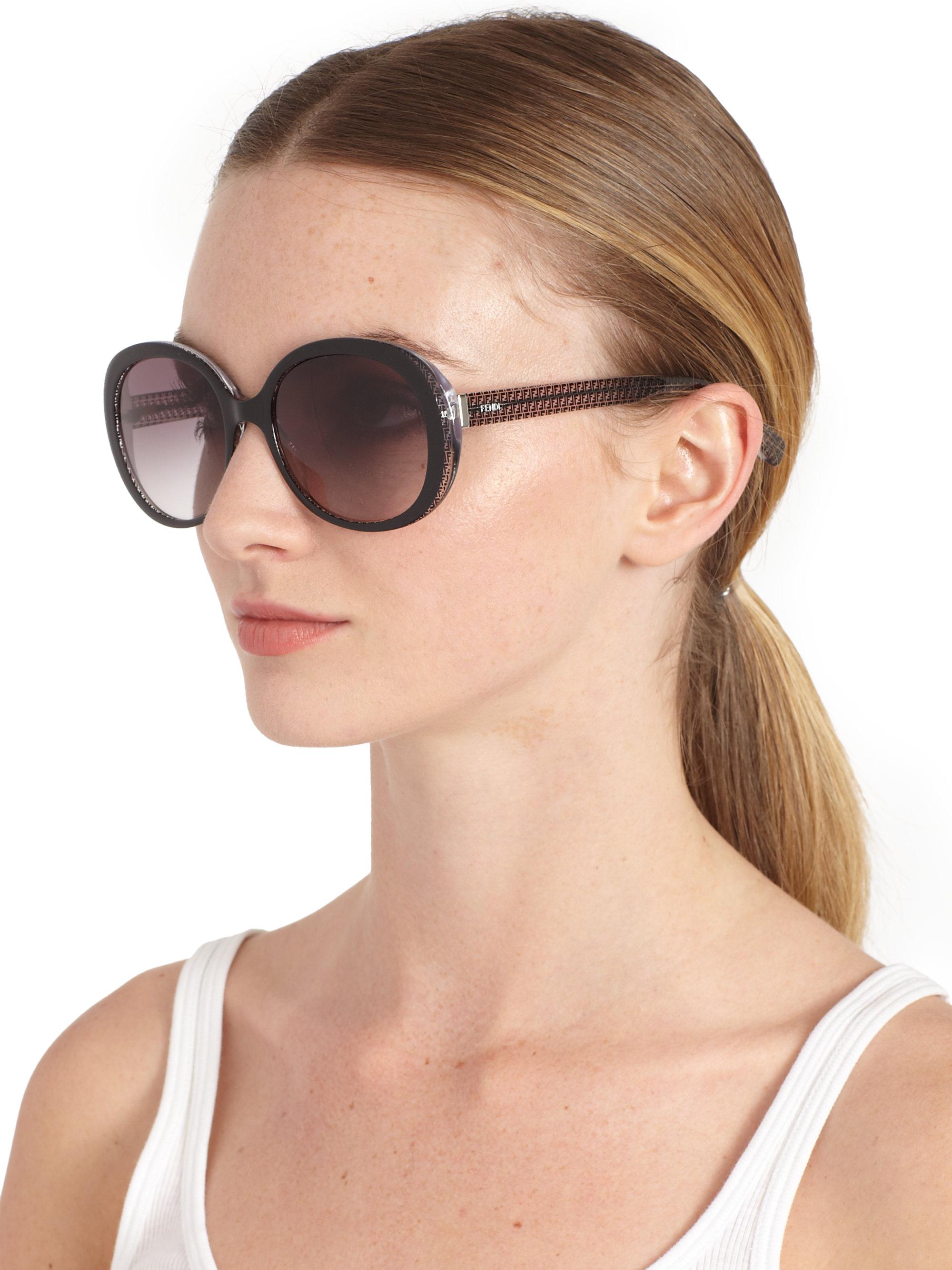 Lyst Fendi Micrologo Oversized Round Acetate Sunglasses