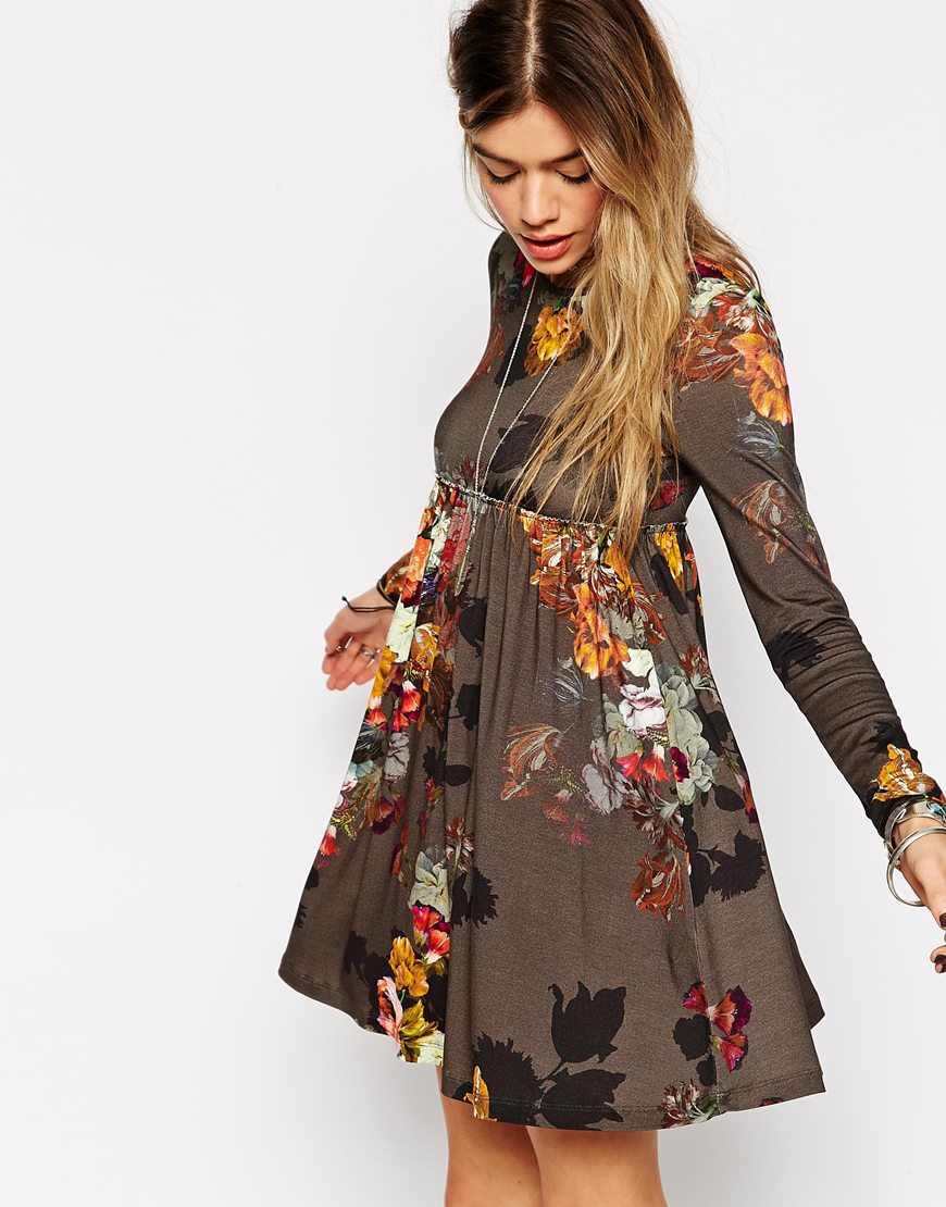 Asos Babydoll Dress With Long Sleeves In Floral Print in Brown   Lyst