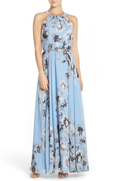 Eliza j belted chiffon maxi dress in blue lyst for Petite maxi dresses for beach wedding