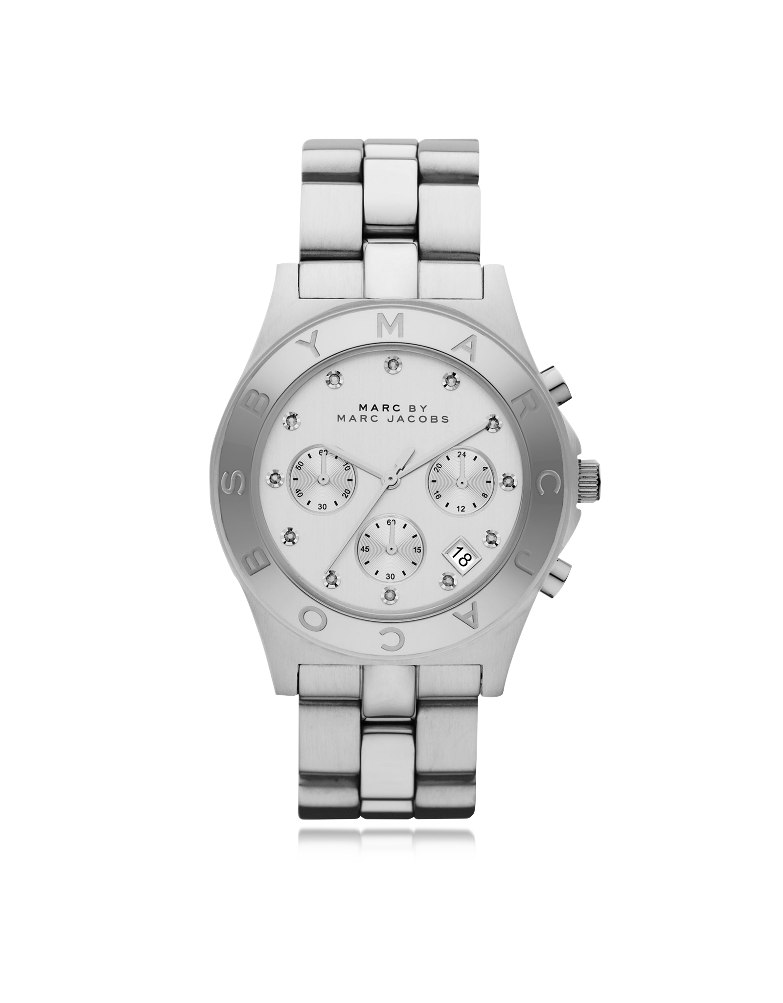 marc by marc jacobs blade 40 mm silver tone stainless