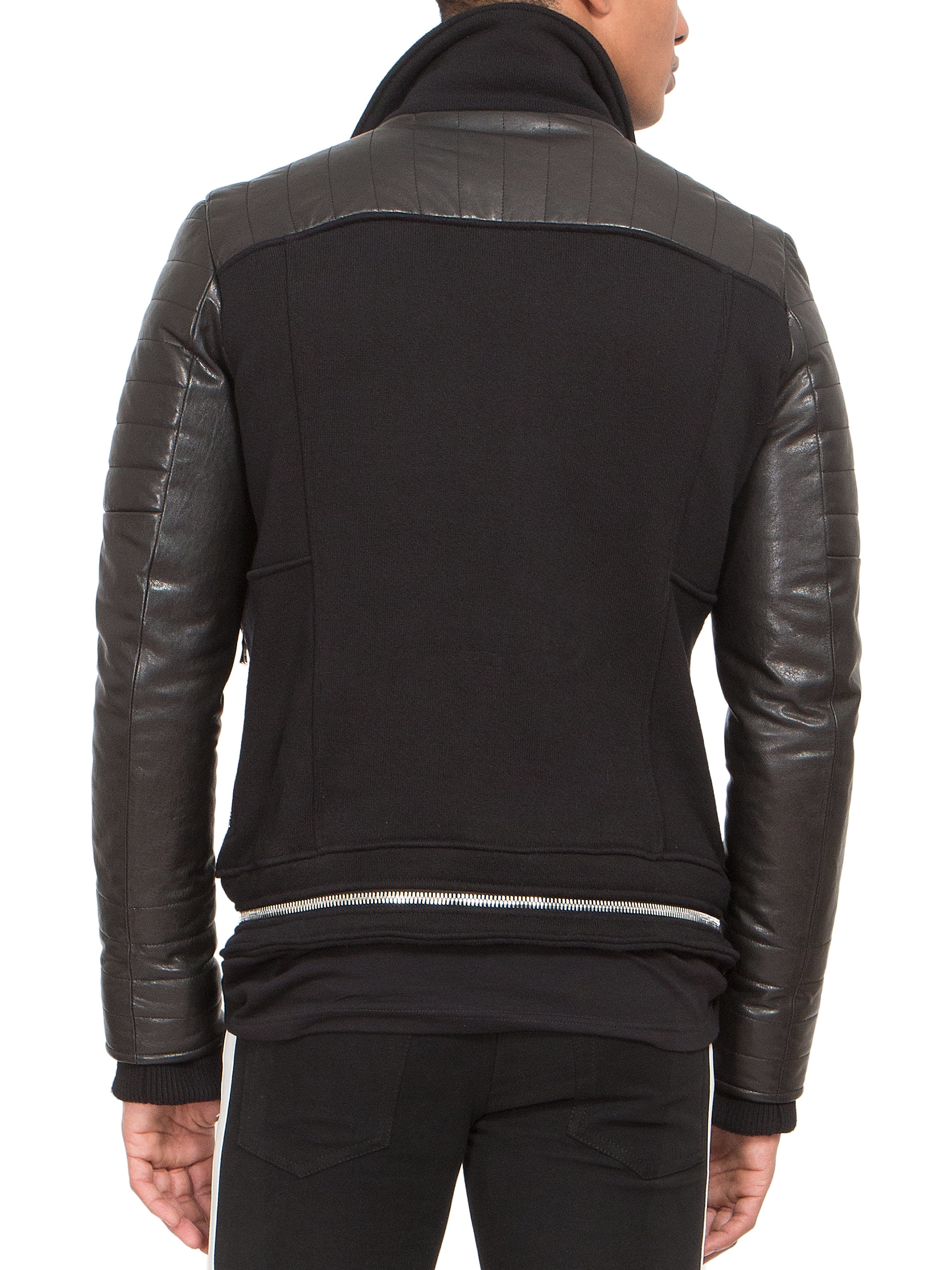 02222c963241 Lyst - Balmain Leather   Jersey Zip Biker Jacket in Black for Men