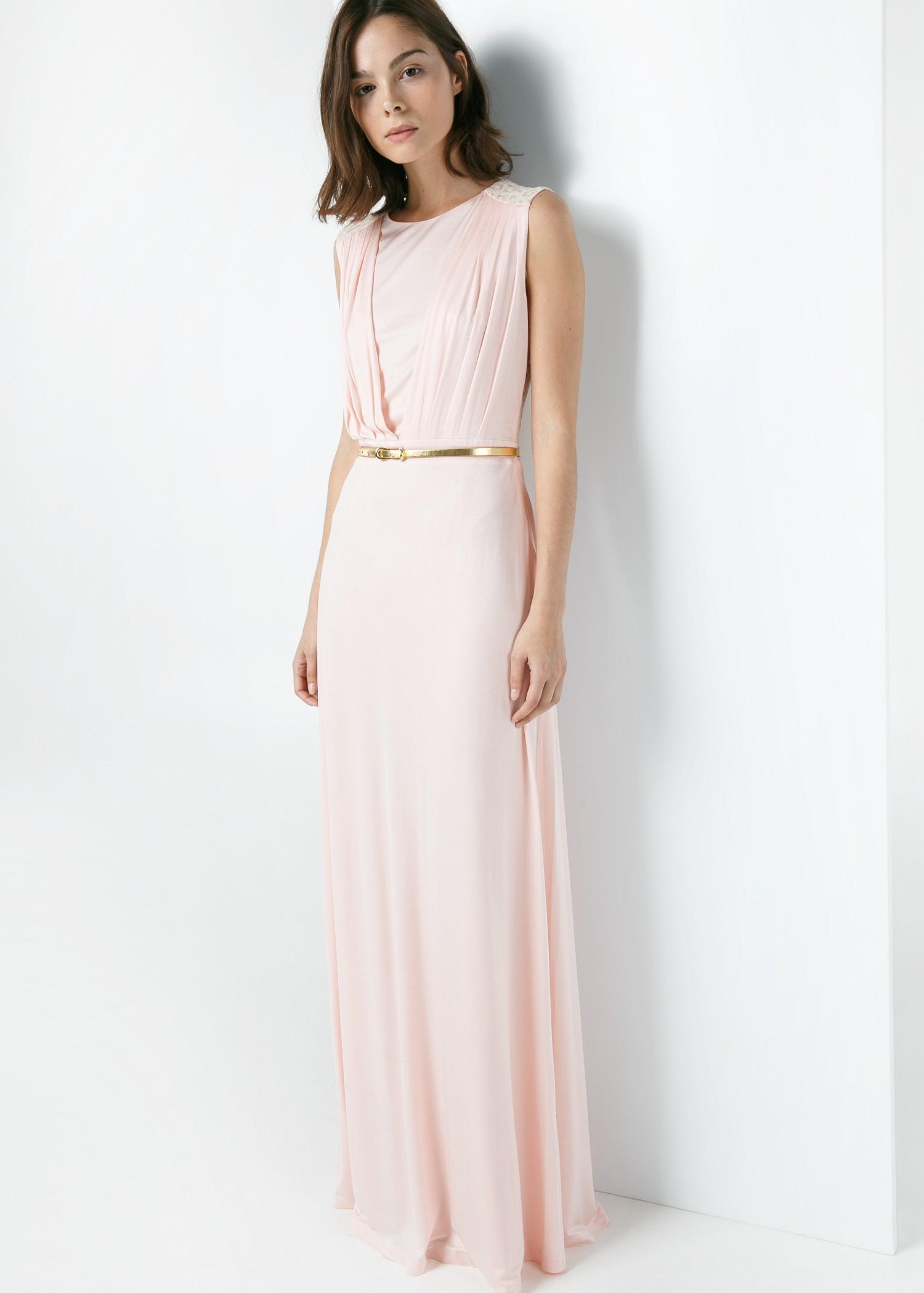 Lyst Mango Lace Back Dress In Pink